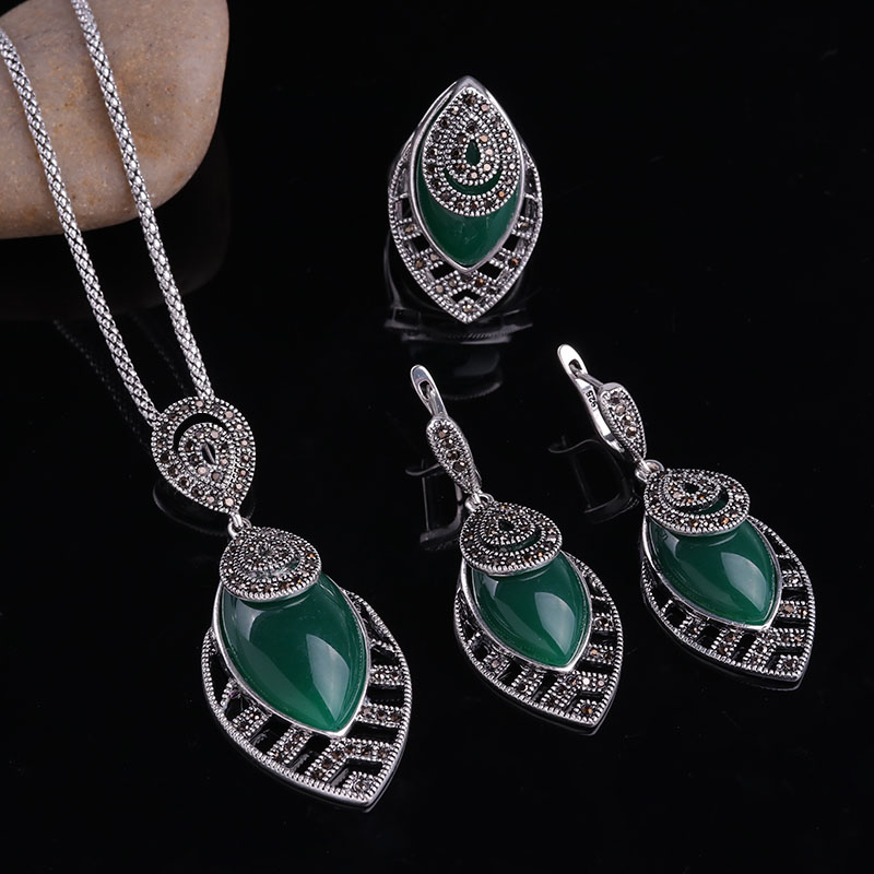 HTB1h1mbbzzuK1Rjy0Fpq6yEpFXa7 - Sellsets Unique Silver Color Antique Jewellery Set New Fashion Leaf Shape Vintage Jewelry Sets Women Accessories