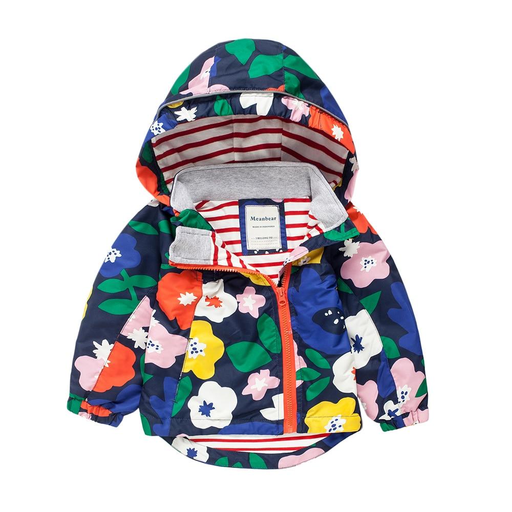 цена на M28 Fashion Boys Girl Big flowers Blue Coat Hoodie Child Jacket Girl Tops Windbreaker Child Thin Coat Child Thin Jacket