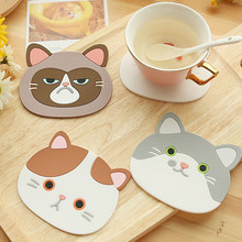 Silicone Cat Shaped Tea Coaster Cup Mat Pad Mug Holder Mat Coffee Drinks Table Placemats Heat-resistant Cup Coasters(China)