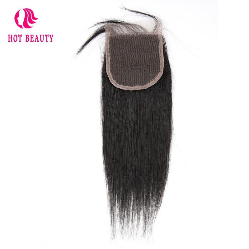 गर्म सौंदर्य बाल बंद पेरू सीधे बाल बंद रेमी बाल 4X4 मुक्त भाग फीता बंद 10-20 इंच 100% मानव बाल
