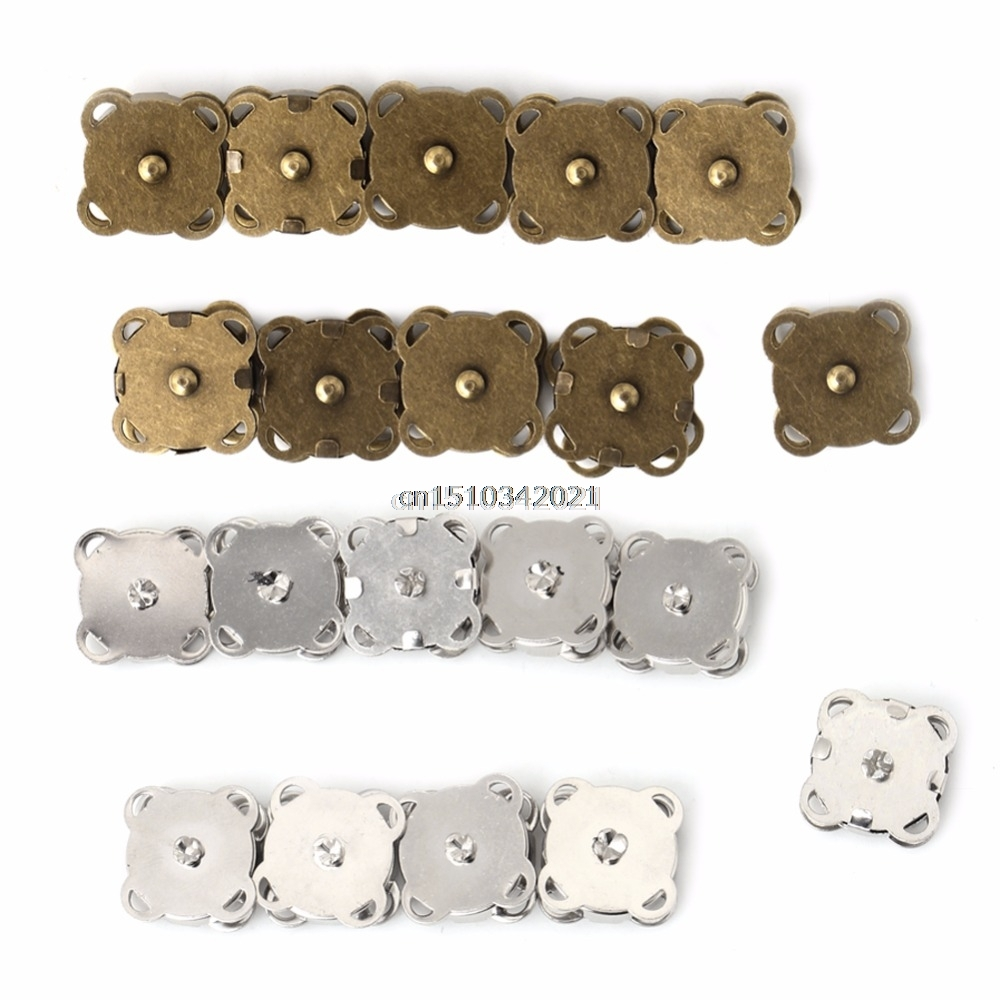 10PCS14 / 18mm DIY Magnetisk Snaps Handväska Clasp Closure Metal Button Bag Craft