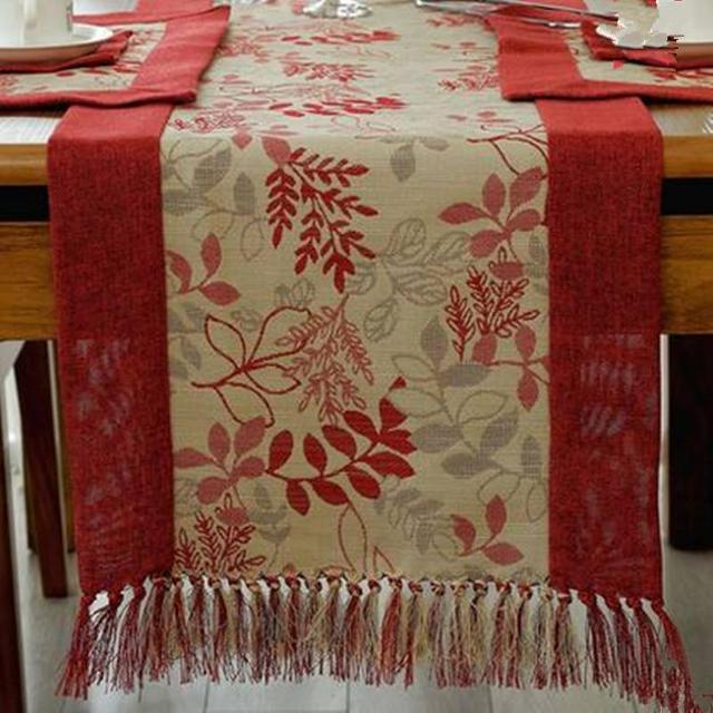 Ordinaire High Quality Cottonu0026Linen Chinese Style Tassels Table Runner Classic  Pastoral Floral Table Runner Red ...