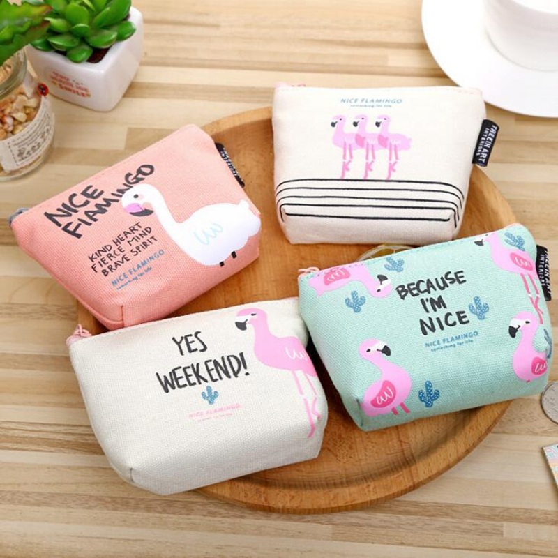 Cartoon Flamingo Coin Purse Holder Women Girl Casual Plush Zipper Money Bag Children Mini Boy Kids Change Purse Pouch Wallet yiyohi hot sale kawaii cartoon spirited away children plush coin purse zip change purse wallet kids girl women for gift