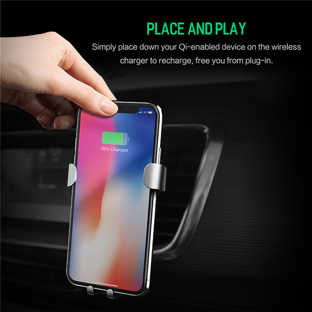 10W QI Wireless Car Charger Gravity Holder , ROCK for iPhone X 8 Plus Samsung Galaxy S8 S7 Note 8 Quick Charge Charging Stand