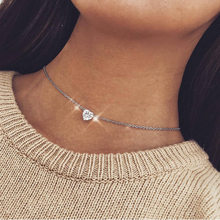 New Crystal Heart Necklace Pendant Female Short Gold Chain Necklace Pendant Necklace Crystal Heart Necklace Chocker(China)