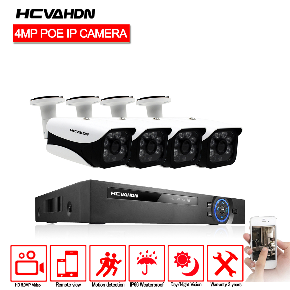 HCVAHDN H.265 8CH 5MP POE NVR de VIDÉOSURVEILLANCE De Sécurité À Domicile Caméra POE Système Avec 4 pièces 4MP Balle Étanche POE IP Caméra de Vision Nocturne