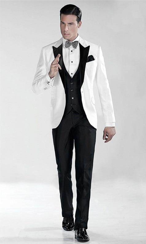 veste Avec Revers Arc Mariage Hommes Slim Fit Smokings Usure multi Marié Grand Blanc Marron Pantalon De Pic Costumes Partie 3 Pièces Gilet Noir rprwvf