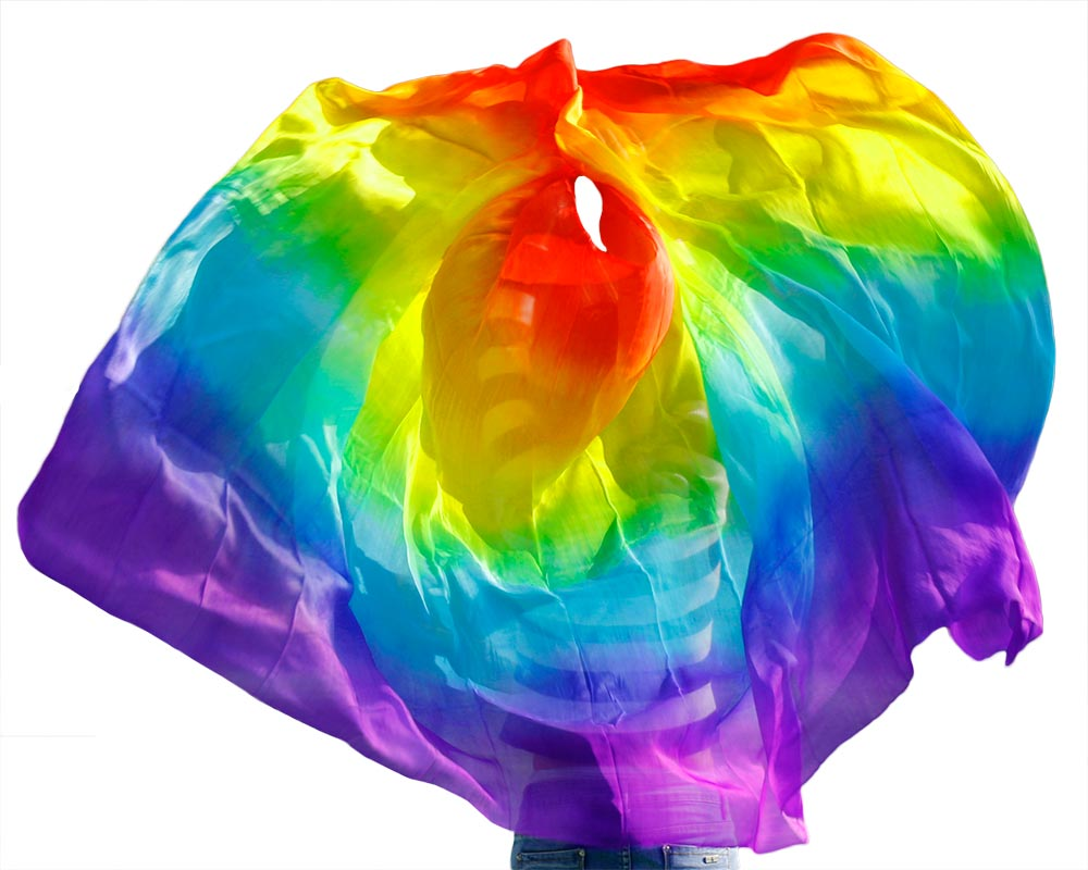 PAIRS 1.8M vertical seven color BELLY DANCE 100/% SILK FAN VEILS rainbow color 8