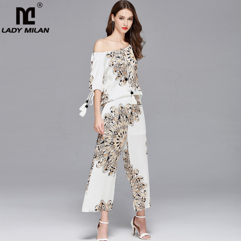 New Arrival Womens Slash Neckline Short Sleeves Blouse with Printed Pants Fashion Runway Two Piece Pants