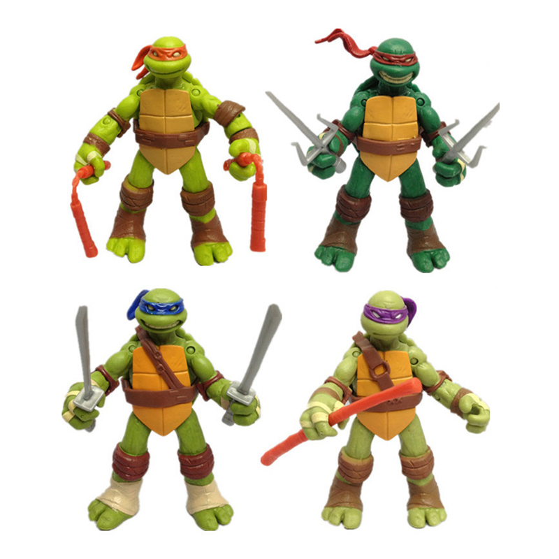 4pcs/set God Turtle Ninjas Tortoise Figure Action Cartoon Turtle Figures Action Movable Doll Kids Decoration Toys