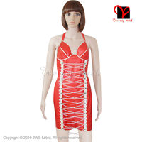 Sexy front lace up Bodycon underwired bust cups halter neck push Plung Backless Playsuit Red Latex Dress Rubber plus size QZ 011