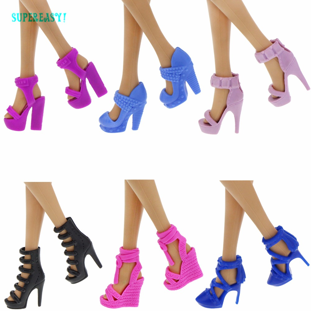 Fashion Shoes Daily Casual Mixed Style Colorful Sandals High Heels Dress Up DIY Clothes For Barbie Doll Accessories Toys