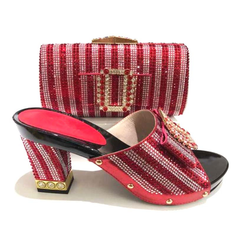 African Women Matching Red Color High Pumps Italian Design Shoe And Bag Set For Wedding Italian Shoes With Matching Bag Italy stylish hemming chain and striped printing color matching voile scarf for women