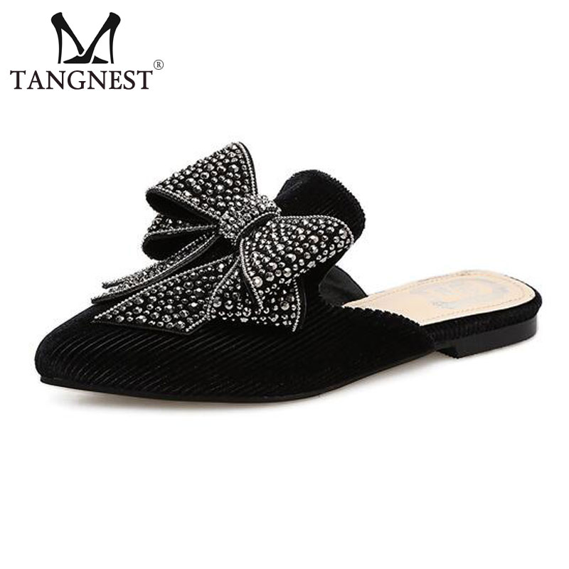 Tangnest Luxury Brand Womens Mules Crystal Butterfly-knot Slides Shoes Corduroy Comfort Flats Shoes Woman Size 35~40 XWT1201Tangnest Luxury Brand Womens Mules Crystal Butterfly-knot Slides Shoes Corduroy Comfort Flats Shoes Woman Size 35~40 XWT1201