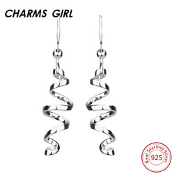 Charms girl fine jewelry earrings 925 sterling silver earrings for wome jewelry dongle long spiral cool.jpg 250x250