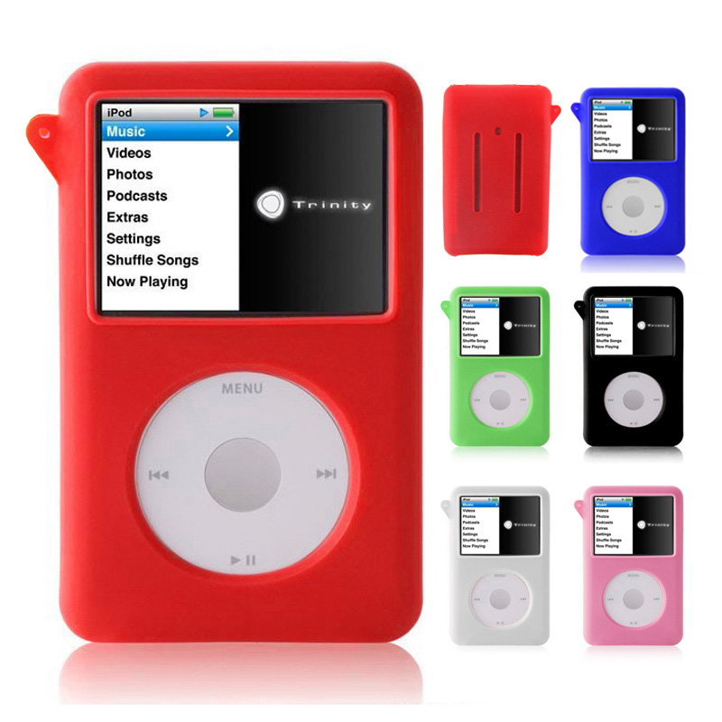 New Hot Soft Silicone Protective Cover Shell Skin with Screen Protector for 60/80GB iPod Classic Cases @88 ipod video 30gb 60gb 80gb lcd screen original