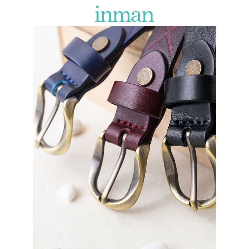 インマン新しい到着シンプルなスタイル牛革ファッション韓国のカジュアルスリム女性ベルト