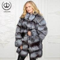 2018 New Long Real Sliver Fox Fur Coat With Mandarin Collar Fox Fur Plus Size Real Jacket Genuine Women Overcoat Winter FC 074