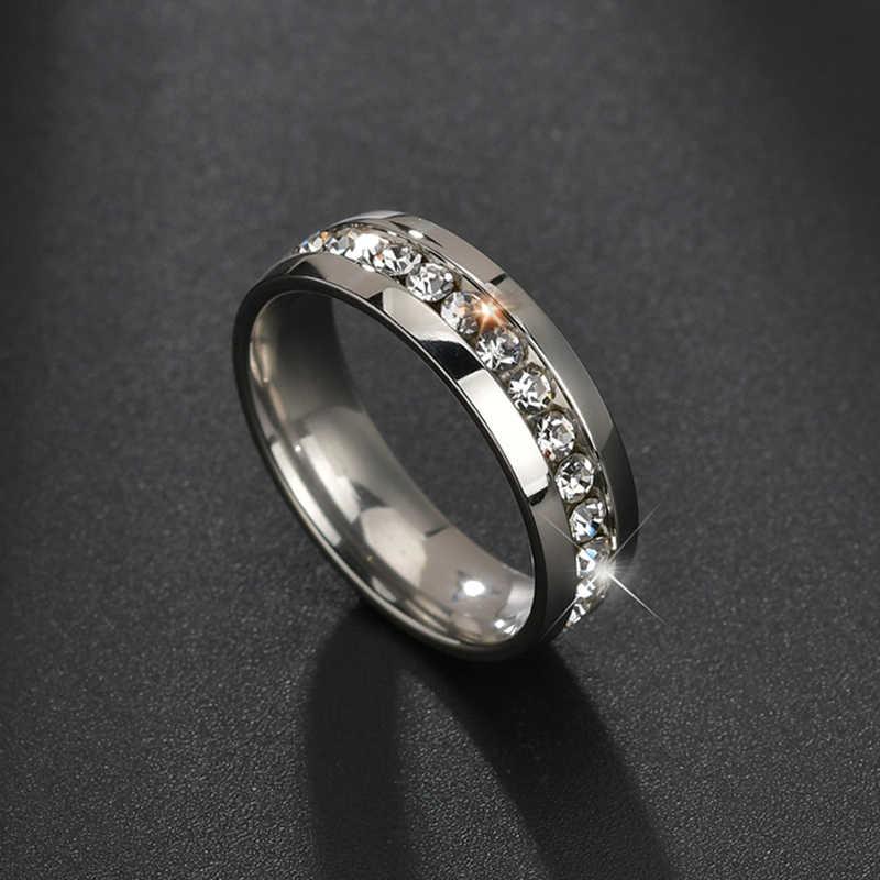 Letdiffery jasny kryształ ślub kobiety zestaw pierścieni srebrny ze stali nierdzewnej stal 1 wiersz Bling rhinestone moda para pierścień damska biżuteria