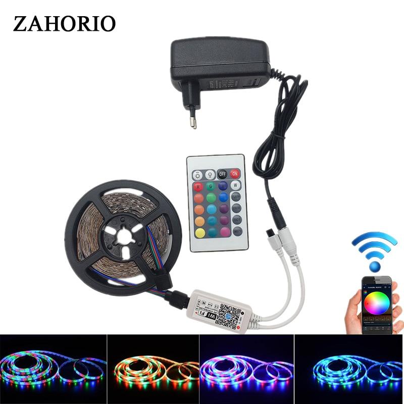 WiFi LED Strip 5M 5050 2835 DC 12V 300 LED RGB strip light LED waterproof flexible LED Diode Tape WiFi controller + EU Adapter