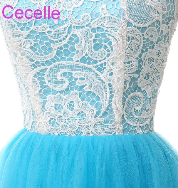 Online Shop Blue White Long Bridesmaid Dresses 2019 Sleeveless Lace ... f92a35f6a1ef