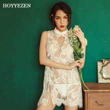 Hoyyezen sexy woman sleepwear new feather print lace pajamas cheongsam mesh strap nightdress suit
