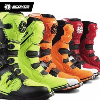 SCOYCO MBM001 Цвет внедорожные обувь для бега мотоциклетная обувь, Мотокросс Мотоцикл сапоги для верховой езды с Сапоги до колена тяжелый защитны...