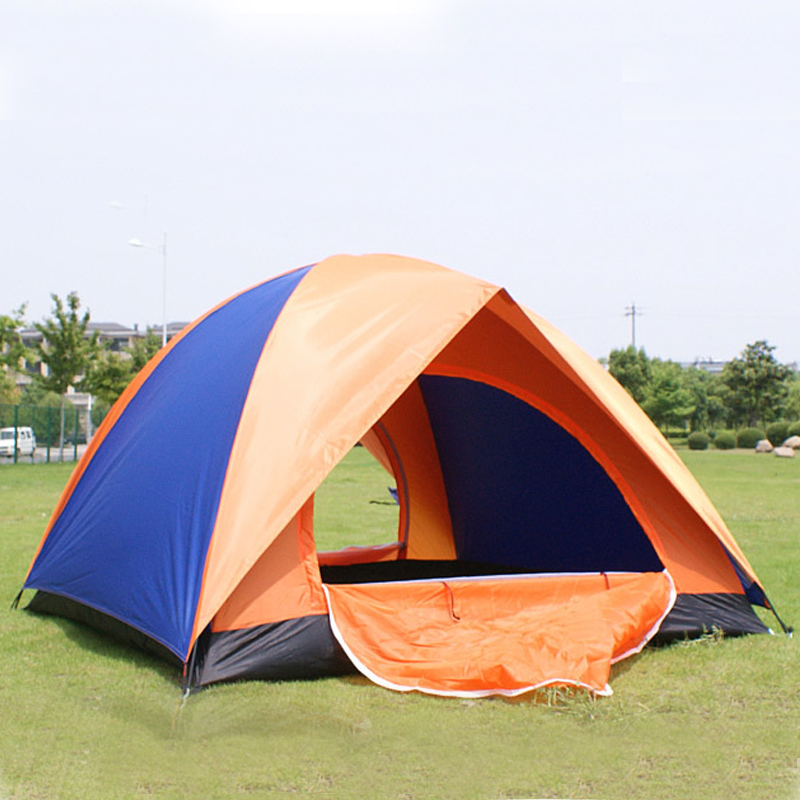 Aotu 3-4 Person Waterproof Double Layer Double Door Tent Waterproof Oxford cloth Outdoor Hiking Camping Tent Picnic Tent