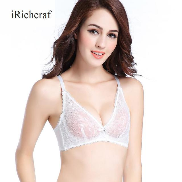 6ab9c6371d Women Mesh Bras Plus Size New Thin Lace Bralette 2017 European Style Sexy  Lingerie Solid 5 8 Cup Underwire Bralett Hot Sale 100D