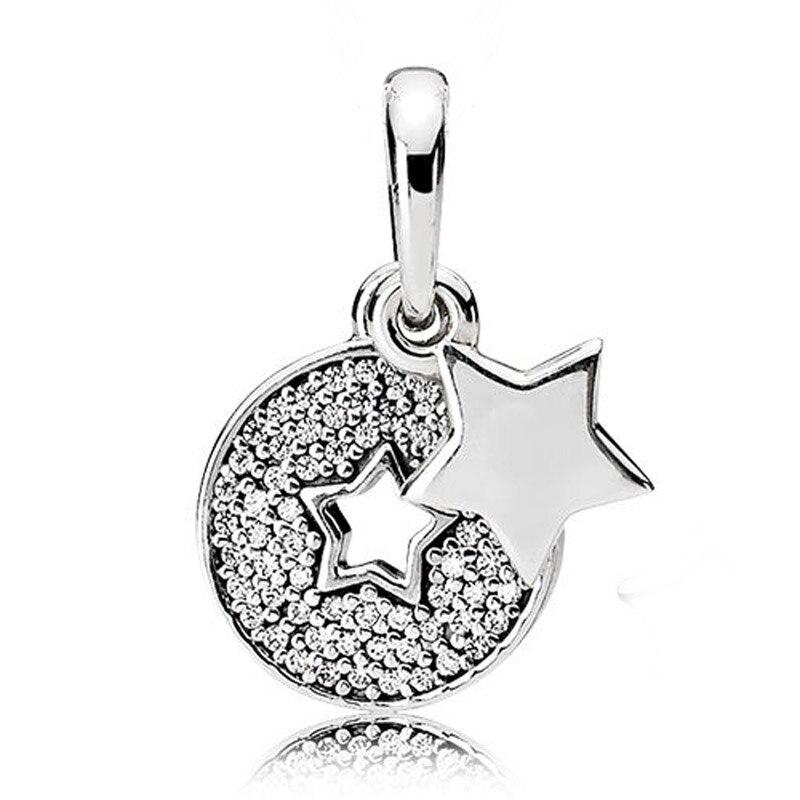 Sparkling Crystal Block Ring Chandelier: 925 Sterling Silver Bead Charm Sparkling Celebration Stars