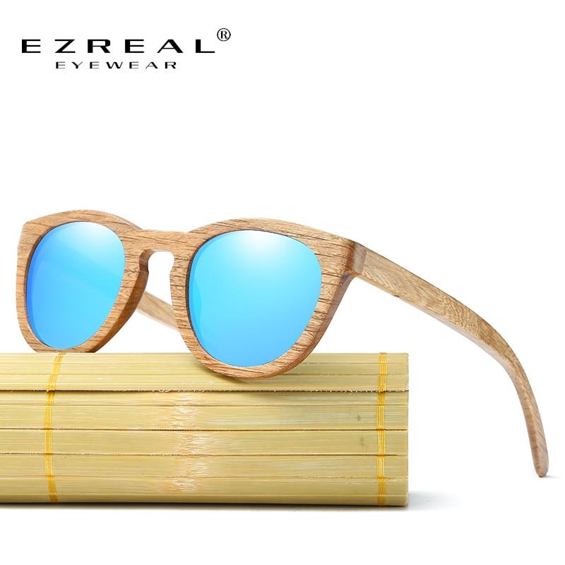 EZREAL Derlingi Du Mediniai Saulės Akiniai Polarizuoti Vyrai Moterys Bambuko Mediena Akiniai Akiniai Veidrodiniai lęšiai Apvalios medienos saulės akiniai su dėklu