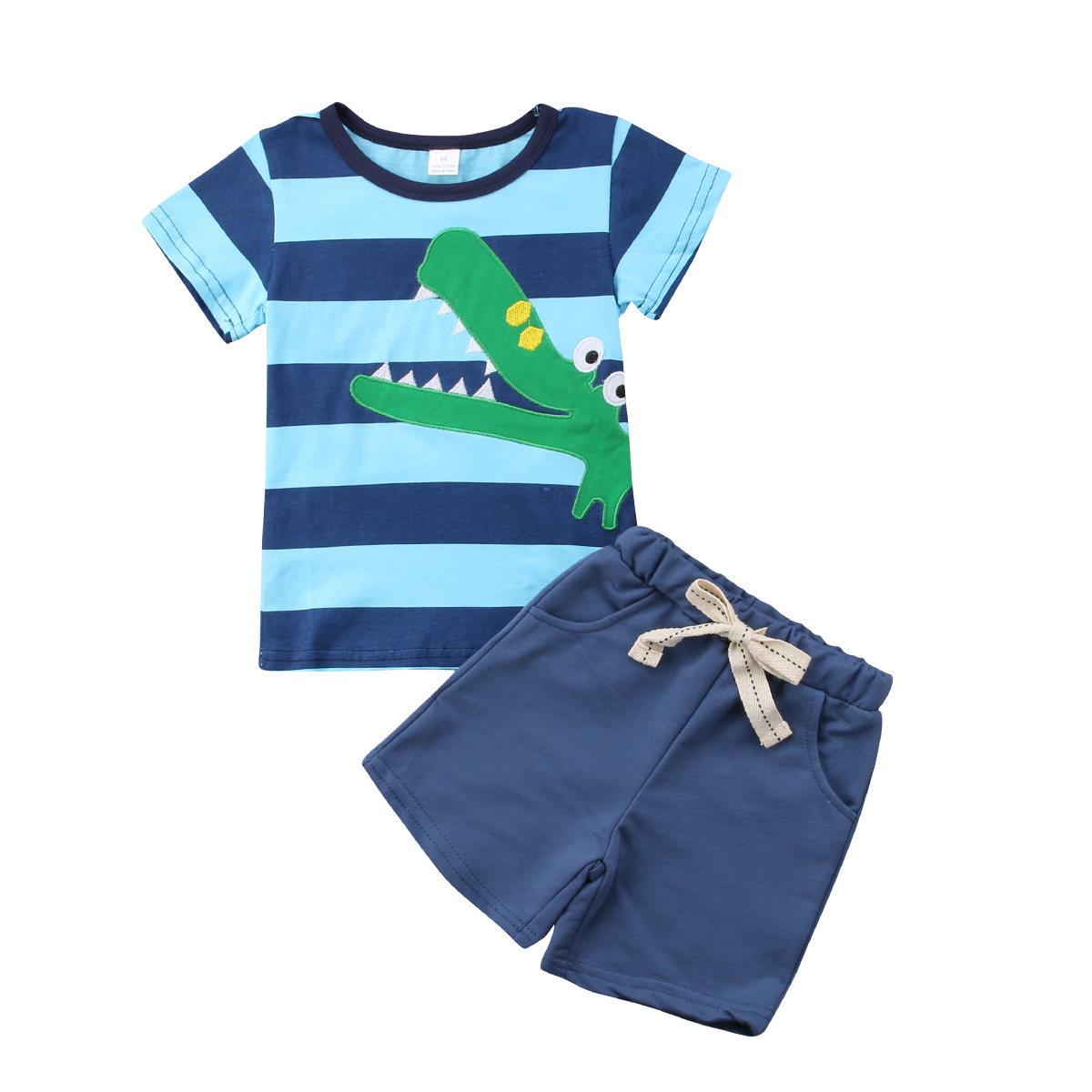 Mother & Kids Motivated 2-7y Boys Beach Sunsuit Clothes Set Stripe Cartoon T Shirt Tops Short Pants 2pcs Summer Kids Outfits Boys' Clothing