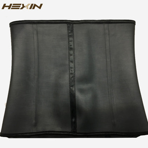 Image 5 - HEXIN 100% ยางLatexเอวเทรนเนอร์บิ๊กตะขอเหล็กBonedเอวเทรนเนอร์รัดตัวสีดำBody Shaper Underbust Fajas Shapewear