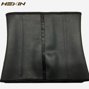 Image 5 - HEXIN 100% Rubber Latex Waist Trainer Big Hooks Steel Boned Waist Trainer Corset Black Body Shaper Underbust Fajas Shapewear