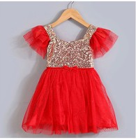 Модные Золотой блестками красный фиолетовый розовый белый Bling День рождения платье для маленькой девочки 1 до 3 лет