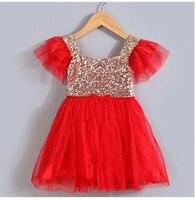 De moda con lentejuelas de oro rojo púrpura rosado blanco de bling vestido de cumpleaños para la niña de 1 años a 3 años