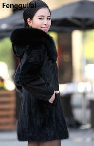 Image 2 - S   4XL Women Winter Hooded Fake Fur Coats Plus Size Vintage Artificial Black  Big Size Faux Fox Fur Coat With Hood