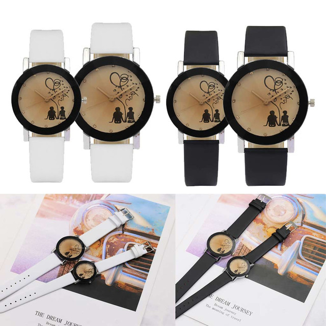 New Fashion Lovers Watches Men Women Casual Leather Strap Quartz Watch Women's D