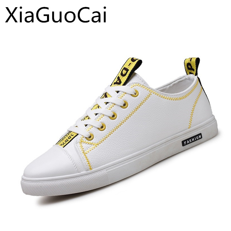 Fashion White Cool Men Casual Shoes Leather Low Top Lace Up Sneakers for Students Breathable Hot Sale Flat Shoes X5 35 new hot sale children shoes pu leather comfortable breathable running shoes kids led luminous sneakers girls white black pink