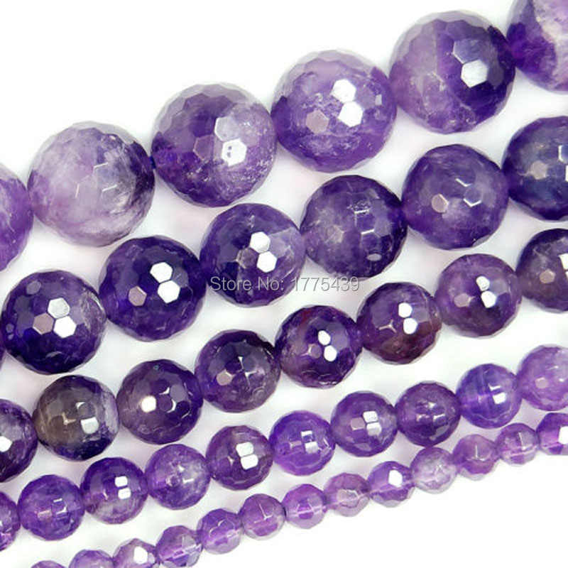 4//6//8//10//12//14MM Natural Purple Amethyst Round Gemstone Loose Beads 15/'/'AAA+