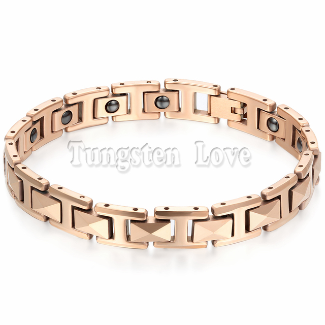 "7.6"" Cool Rose Gold Man Stereoscopic Tungsten Bracelet Health Balance Bracelet With Energy Magnetic Stone Inlay pulseras hombre"