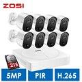 Sistema de Vigilancia hogareña ZOSI 5MP, H.265 + 5.0MP 8CH CCTV DVR 2 TB disco duro y (8) 5.0MP Pir sensores de movimiento cámaras de seguridad