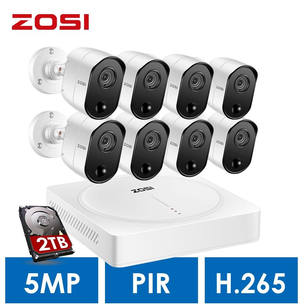 ZOSI 5MP Sistema de Vigilância Em Casa, H.265 + 5.0MP 8CH CCTV DVR 2 TB Disco Rígido e (8) sensores De Movimento Pir 5.0MP Câmeras de Segurança