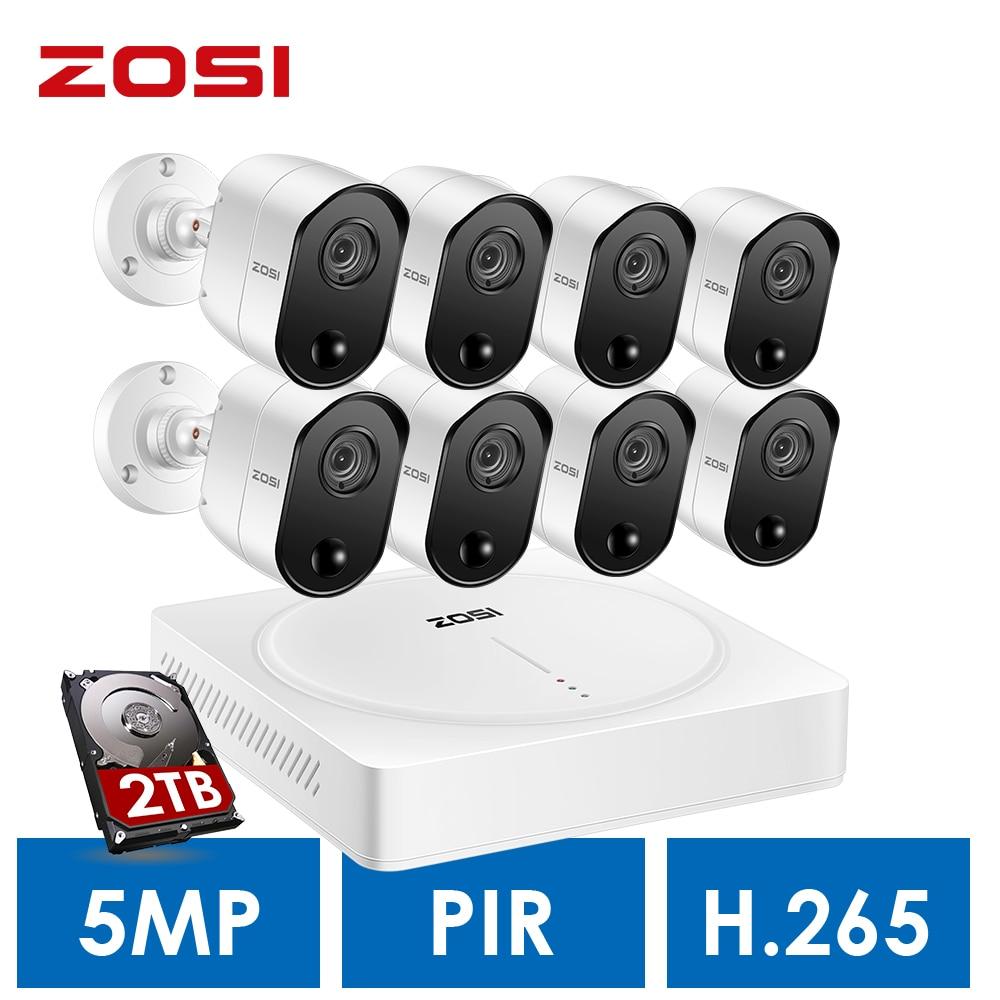 ZOSI 5MP domowego systemu monitoringu, H.265 + 5.0MP 8CH CCTV DVR 2 TB dysk twardy i (8) 5.0MP Pir czujniki ruchu kamery bezpieczeństwa