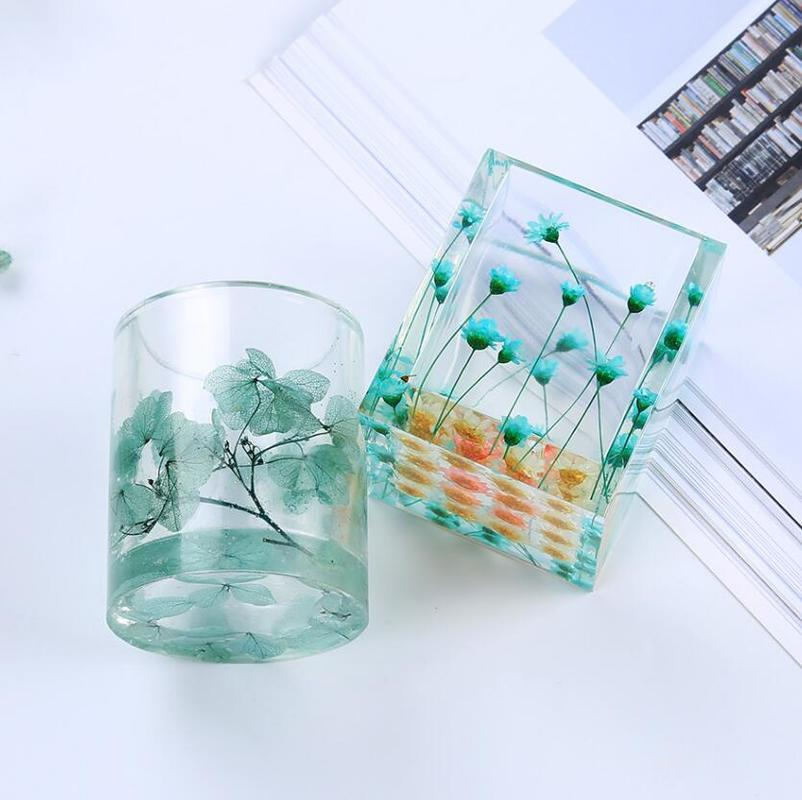 DIY Transparent Silicone Mould Dried Flower Epoxy Resin Decor Craft Round Square Storage Pen Holder Molds Jewelry Making Tools