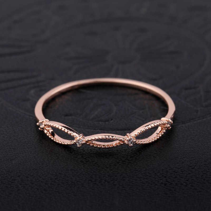 MIGGA conception géométrique Simple Mini Zircon cristal Bague couleur or Rose mode femmes filles Bague bijoux