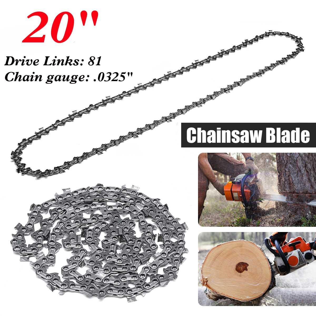 Woodworking Chainsaw Chain 81 Link 20 inch Bar 0.063 x 0.325 LP Garden Chains Saws Alloy Power Tool PartsWoodworking Chainsaw Chain 81 Link 20 inch Bar 0.063 x 0.325 LP Garden Chains Saws Alloy Power Tool Parts
