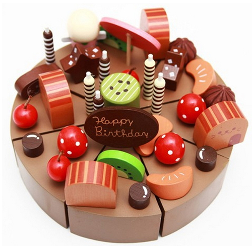 Wooden Baby Toys Birthday Chocolate Cake Wooden Simulation Cake Baby