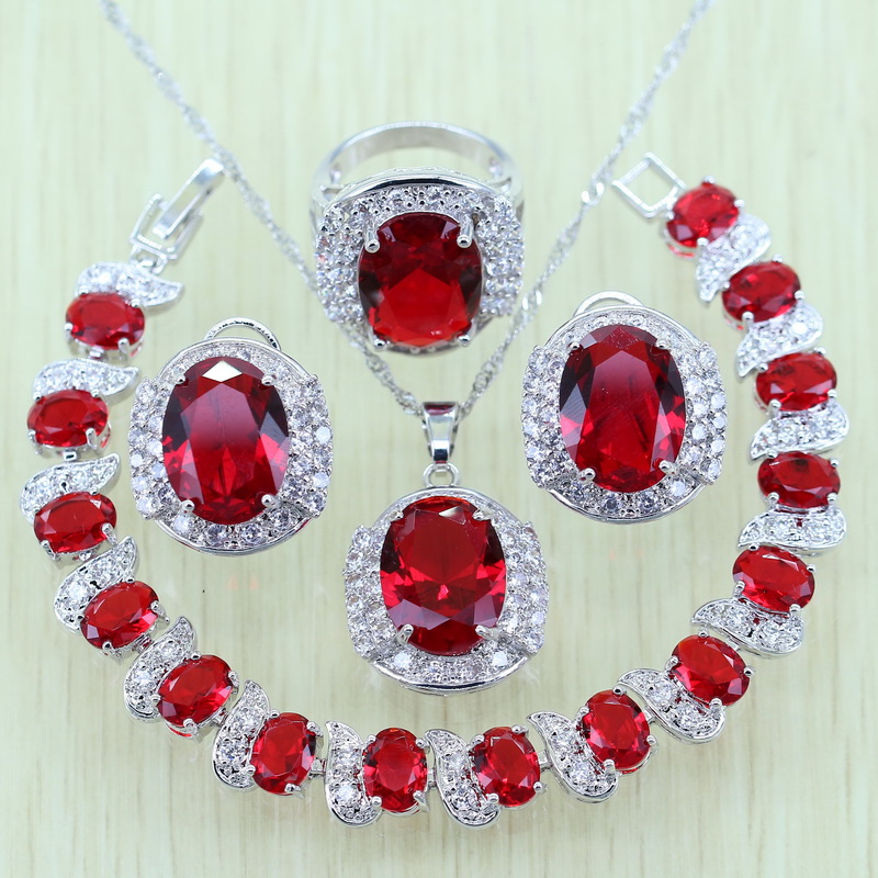 925 Stamp White Zircon Red Rhinestone Silver color Jewelry Set For Women Crystal Bracelets/Necklace/Earrings/Ring/Pendent