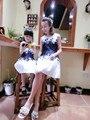 Дети девочки мода печатные платья без рукавов матери-дочери европа высокого класса платья 2016 лето мама и я соответствующие одежды
